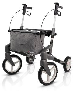 Image of the TOPRO Olympos ATR rullator with off-road wheels, black coloured in size medium. Viewed obliquely from the front.